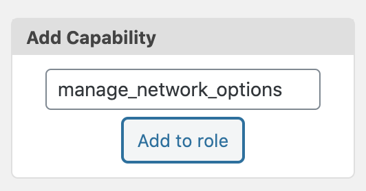 Manage Network Options Add