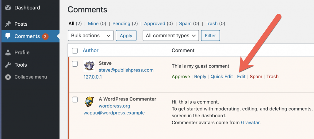 Moderate Comments Links