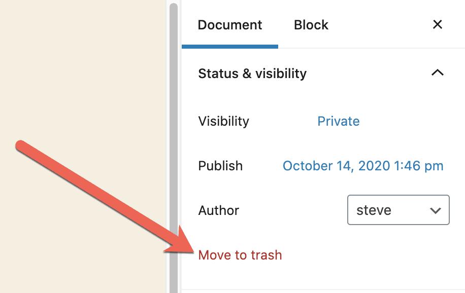 Move To Trash Private Page