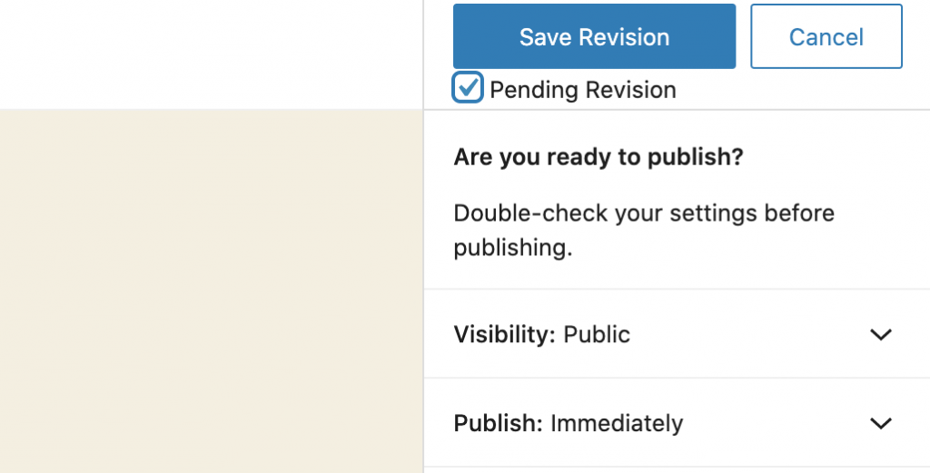 Pending Revision Checkbox Save