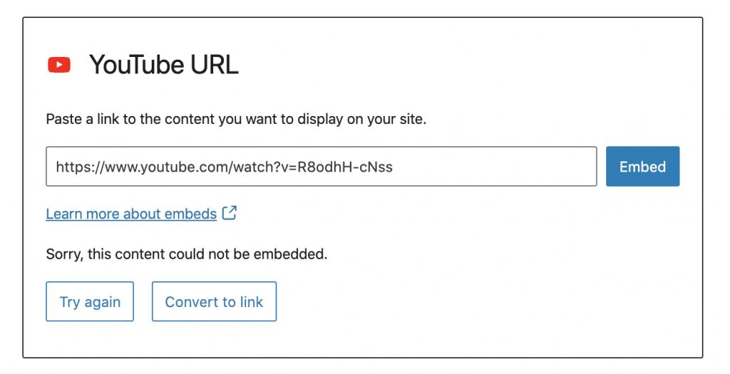 Sorry WordPress Embed