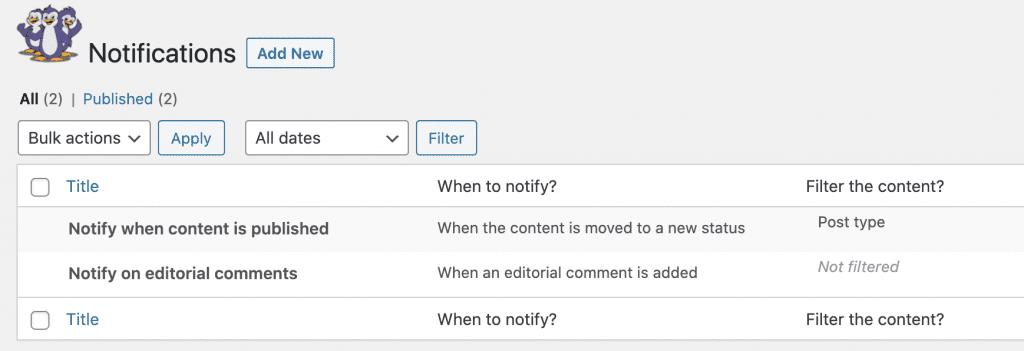 Create New Notifications