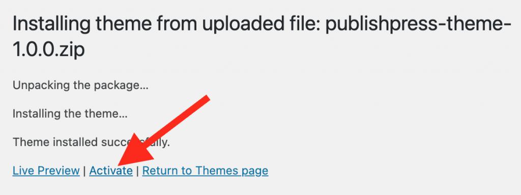 Activating the PublishPress Theme