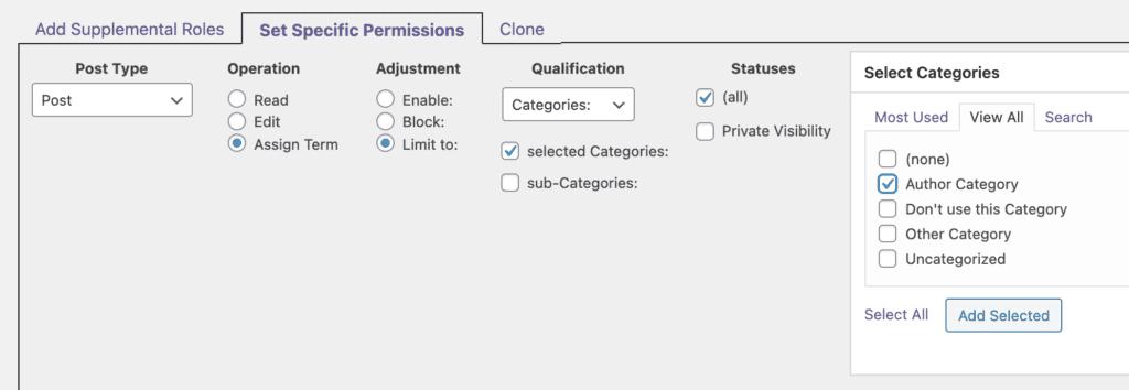 Edit Categories Permissions