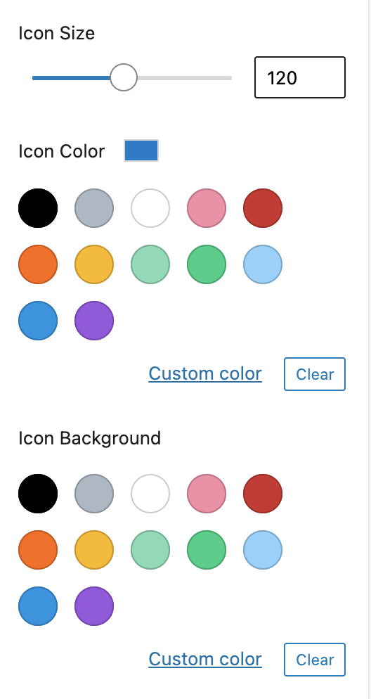 Icon Size Color