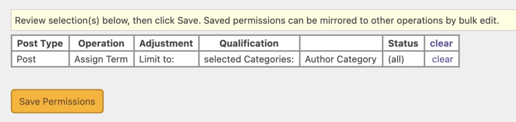 Save Category Permissions