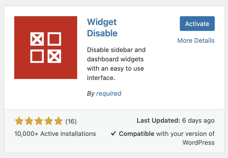 Disable Dashboard Widgets