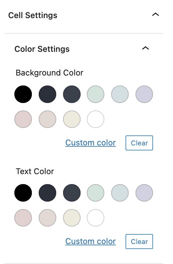 Advanced Table Color Settings