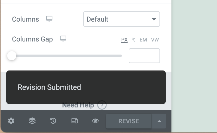 Elementor Revision Submitted