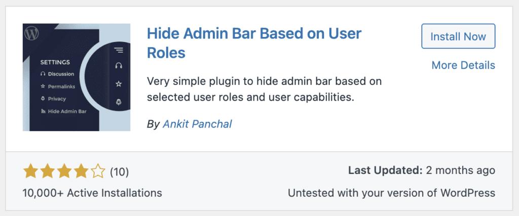 Hide Admin Bar Roles