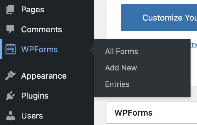 Wpforms Limited Menus