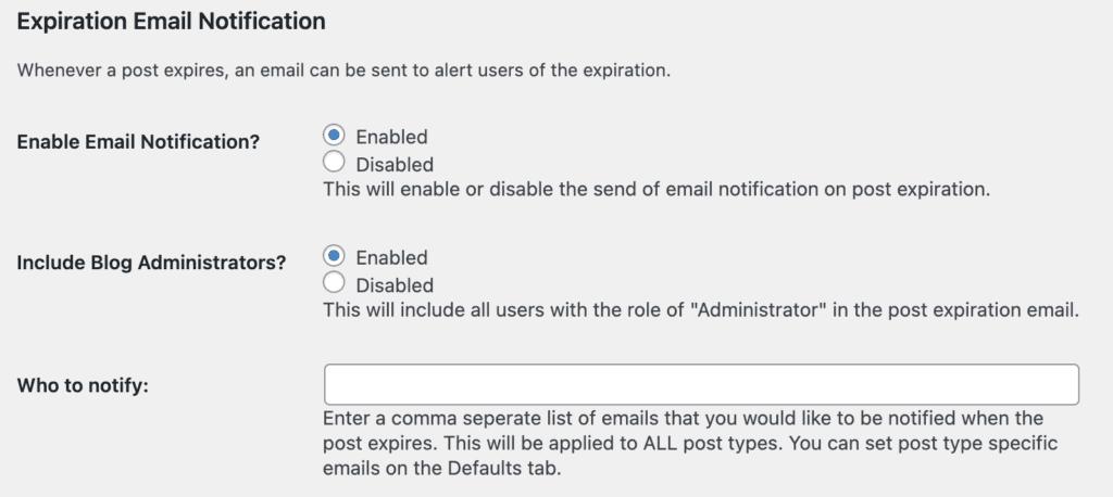 Emails Post Expirator