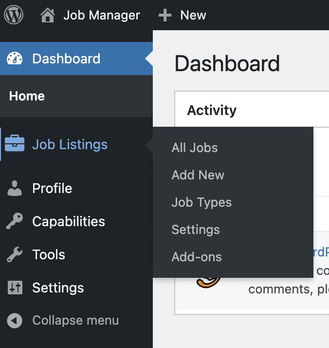 Job Manager Menu Links