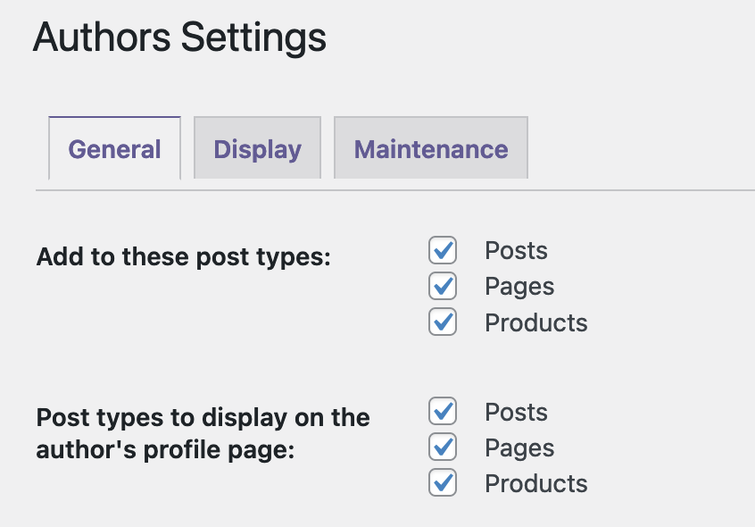 Authors Post Type Settings