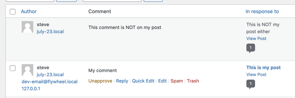 Comments Interacting