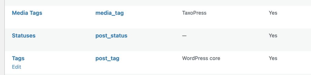 Tags Taxonomy Row Edit