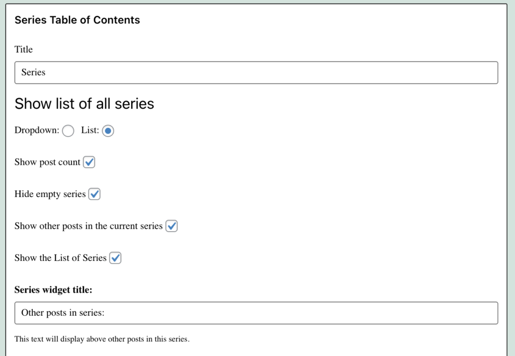 Series Table Of Contents