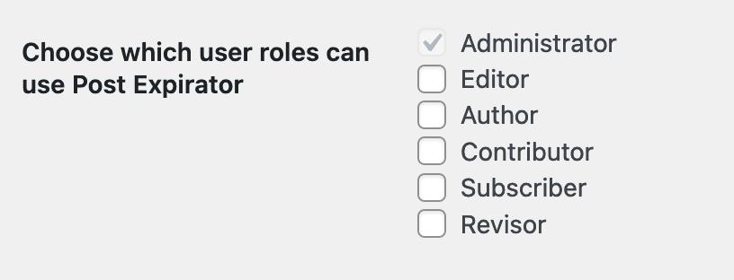 User Roles Post Expirator